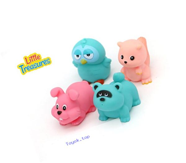Little Treasuress Baby Bath Tub Floating Toys, Cute Colored Animal Friends for Kids, Set of 4