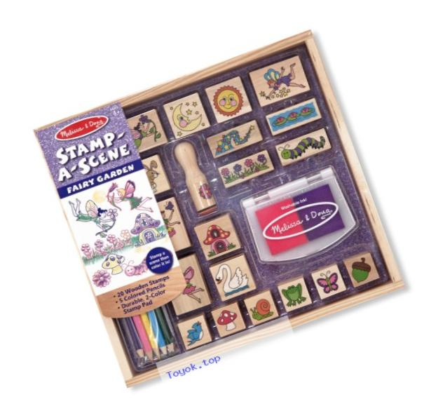 Melissa & Doug Stamp-a-Scene Stamp Pad: Fairy Garden - 20 Wooden Stamps, 5 Colored Pencils, and 2-Color Stamp Pad