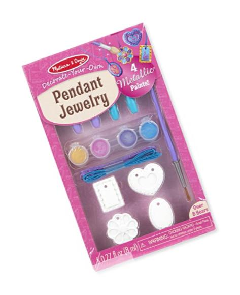 Melissa & Doug Decorate-Your-Own Pendant Jewelry Craft Kit (Makes 4 Necklaces)